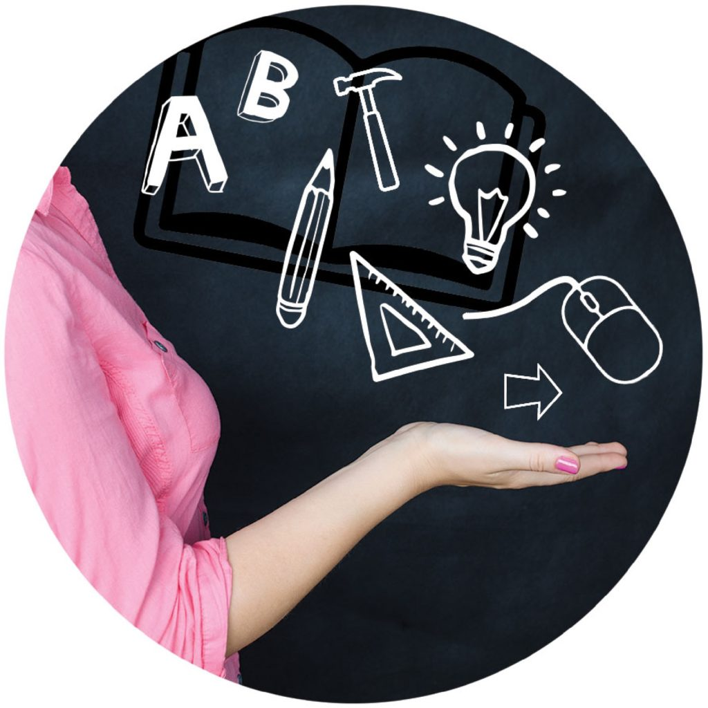 A képen egy kéz látható, amely felett az alábbi grafika látható: könyv, A és B betű, ceruta, vonalzó, kalapács, égő.