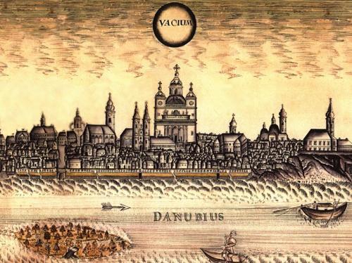Jeszenovszki János: Vác látképe - Piarista templom, 1770