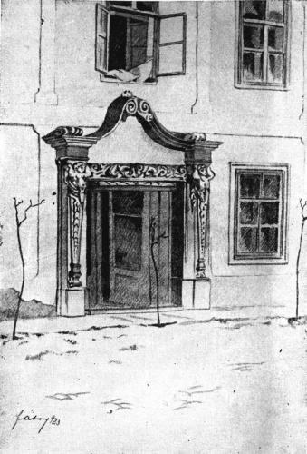 Fábry: Váci Piarista Rendház bejárata, 1923