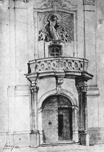 Fábry: Váci Piarista Templom bejárata, 1923